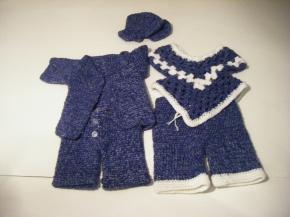 Hat, Jacket, Pants, Poncho & Vest: Denim & White