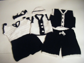 Head-band, hat, Dress,Pants & Vest: Black & White