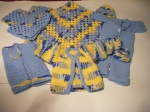 Blanket, Booties, Hat,  Jacket, Jumper, Pants & Poncho: Blue, Yellow & White
