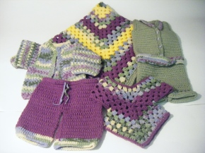 Blanket, Jacket, Jumper, Pants & Poncho: Purple, Green & Yellow