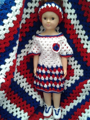 Blanket, Dress, Headband & Sneakers: Red, White & Blue