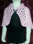 Pink shawl w/butterfly pendent