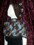 Hat & Scarf: Brown & Turquoise