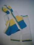 Hoodie Vest & Pants: White, Yellow & Turquoise