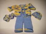 Booties, Hat, Jacket & Pants: Blue, Yellow & White