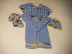 Booties, Hat, Pants & Poncho: Blue, Yellow & White